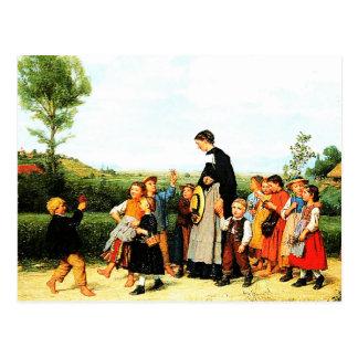 Land-Schullehrer-Malerei-Postkarten Postkarte