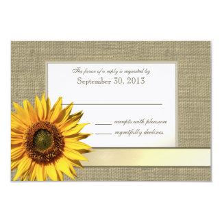 Land-Sonnenblume-und Leinwand-Blick-Antwort 8,9 X 12,7 Cm Einladungskarte