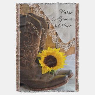 Land-Sonnenblume und Spitze-Western-Hochzeit Decke