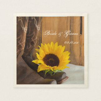 Land-Sonnenblume-Western-Hochzeit Papierservietten