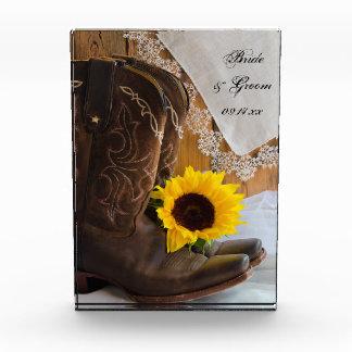 Land-Sonnenblume-Western-Hochzeits-Andenken Acryl Auszeichnung