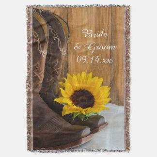 Land-Sonnenblume-Western-Hochzeits-Andenken Decke
