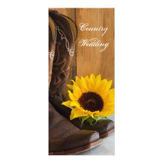 Land-Sonnenblume-Western-Hochzeits-Programm Werbekarte