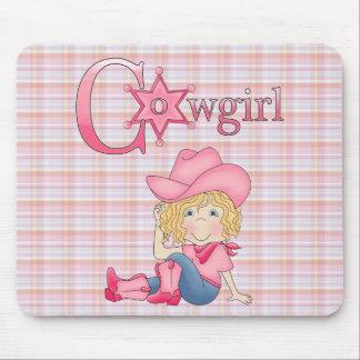 Land-Spaß-Cowgirl-blondes Haar Mousepad