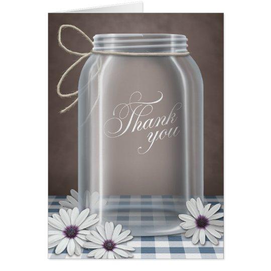 Land-Weckglas-Gänseblümchen-Blau dankt Ihnen Mitteilungskarte