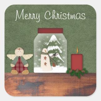 Land-Weihnachtsaufkleber Quadratischer Aufkleber