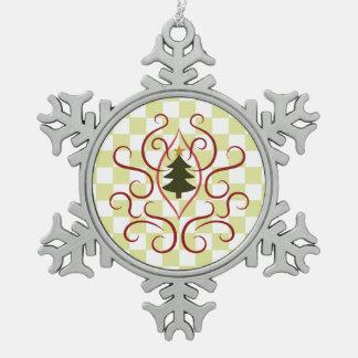 Land-Weihnachtsbaum Schneeflocken Zinn-Ornament