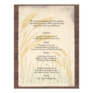Land-Weizen-Gras auf Pergament-Hochzeits-Menü Flyer