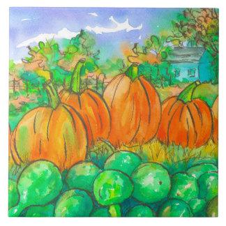 Land-Zuhause-Kürbis-Flecken-Herbst-Bäume Große Quadratische Fliese
