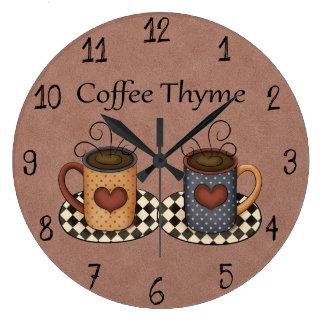 Landbevölkerung-Kunst-Küchen-Kaffee-Entwurf Große Wanduhr