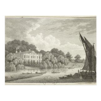 Landhaus mit See und Booten Postkarte