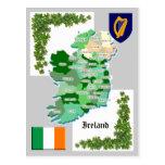 Landkreis-Karte von Irland Postkarten