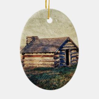 Ländliche Landschaftsgrasland-Western-Landkabine Ovales Keramik Ornament