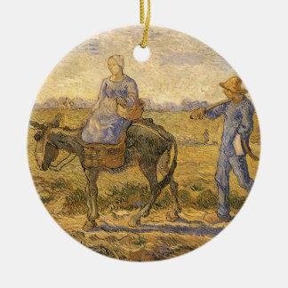 Ländliche Paare, die gehen, durch Vincent van Gogh Rundes Keramik Ornament