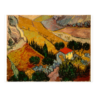 Landschaft mit Haus u. Ploughman, Vincent van Gogh Postkarte
