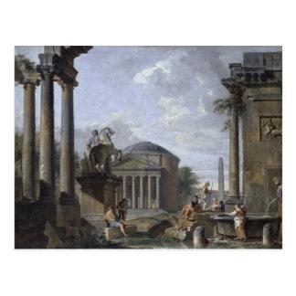 Landschaft mit römischen Ruinen Postkarte