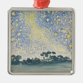 Landschaft mit Sternen Silbernes Ornament
