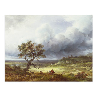 Landschaft unter einem stürmischen Himmel Postkarte