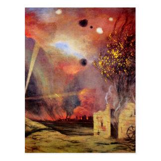 Landschaft weg von den Ruinen und Feuer durch Postkarte