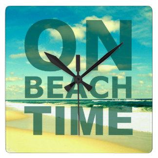 Landschaftlich auf Strand-Zeit-Wand-Uhr Quadratische Wanduhr