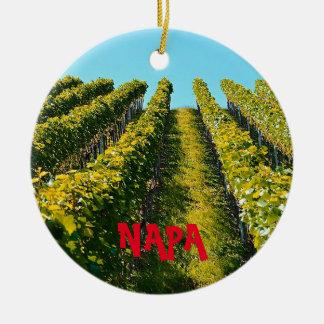 Landschaftliche Weihnachtsverzierung Napa Valley Rundes Keramik Ornament