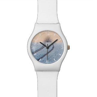 Landschaftliches Winter-Landschaftsbaum-Foto - Armbanduhr