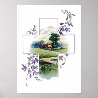 Landschafts-christliches Kreuz Poster