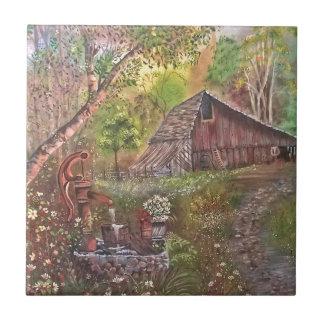 Landschaftsfarbenmalereihandkunstnatur Kleine Quadratische Fliese