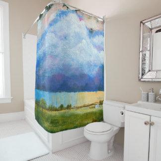 Landschaftskunst-Malerei-Haus-Regen-Sturm-Wolken Duschvorhang