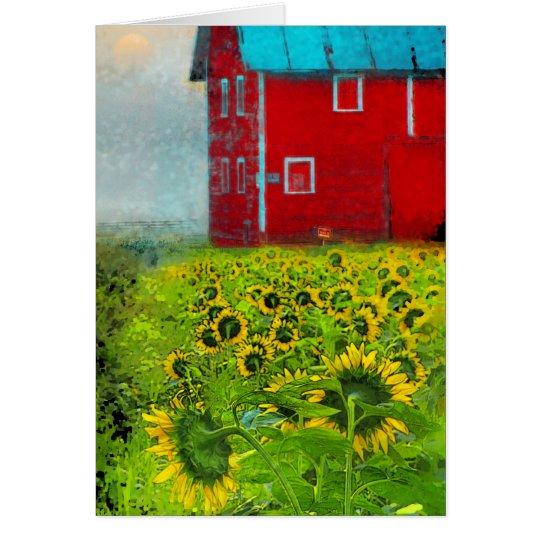 Landsonnenaufgang, Scheunenkarte, Sonnenblumen, Grußkarte