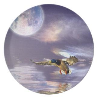 Landungs-Stockenten-Ente u. Mond-Tier-Vogel-Platte Essteller