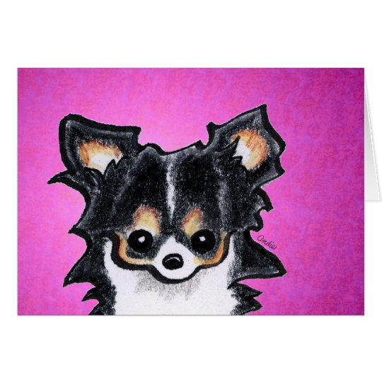 Lange Haar-Chihuahua-Tricolor Gewohnheit Grußkarte