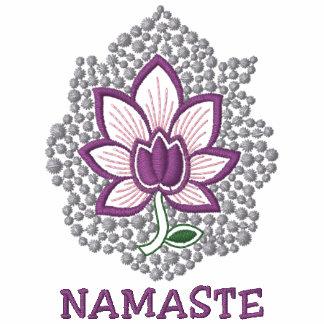 Langes die Hülsen-Hemd der Yoga-Namaste gestickten
