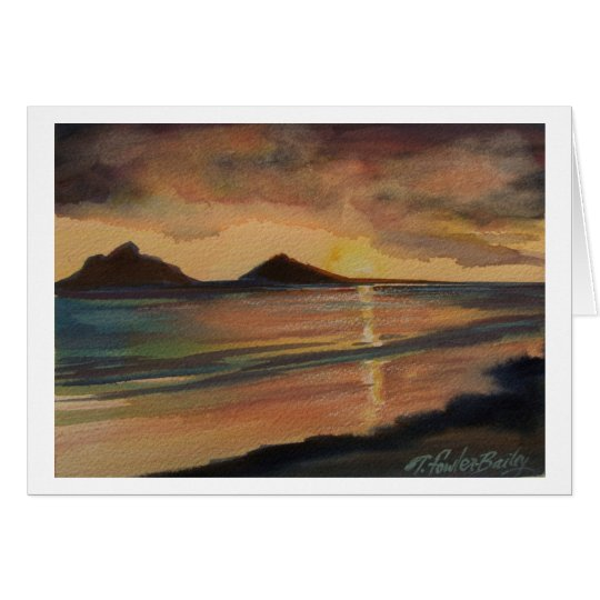 Lanikai Strand-Sonnenaufgang-Gruß-Karte Grußkarte