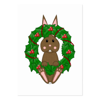 Lapin de Brown et guirlande de Noël Modèle De Carte De Visite