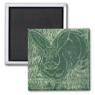 Lapin gris dans l'herbe magnet carré