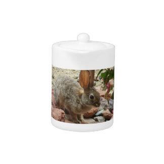 Lapin sur pot de thé de roche de Sedona le petit