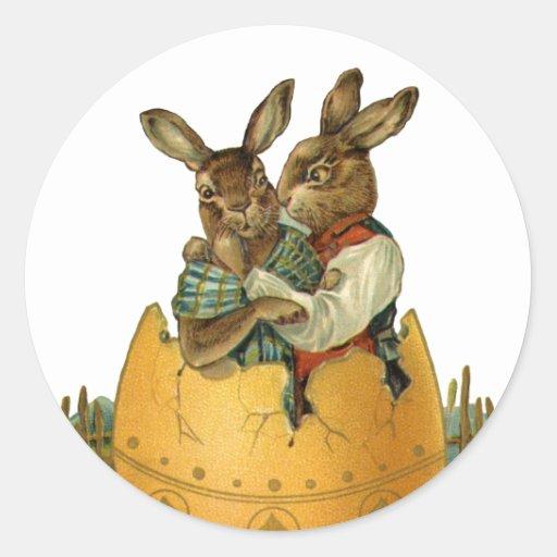 Lapins de Pâques victoriens vintages, oeuf de Autocollants Ronds