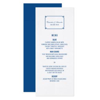 Lapis blaues Dekochic-Hochzeits-Menü 10,2 X 23,5 Cm Einladungskarte