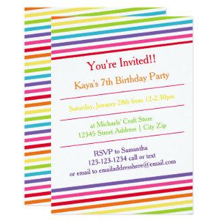 L'arc-en-ciel barre la fête d'anniversaire - carton d'invitation  12,7 cm x 17,78 cm