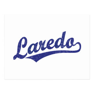 Laredo-Skriptlogo im Blau beunruhigt Postkarte