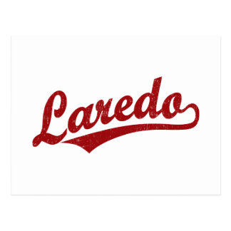 Laredo-Skriptlogo im Rot beunruhigt Postkarte