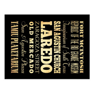 Laredo-Stadt der Texas-Staats-Typografie-Kunst Postkarte