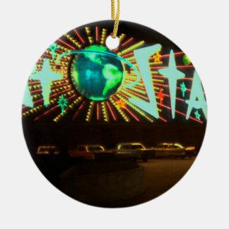 Las Vegas circa Stardust Hotel-Leuchtreklame 1959 Rundes Keramik Ornament