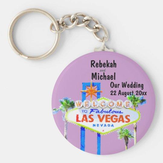 Las Vegas, das Datum Wedding ist Standard Runder Schlüsselanhänger