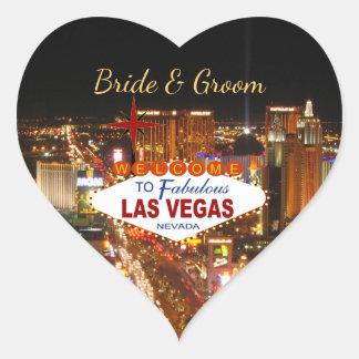 Las Vegas-Streifen-Hochzeits-Aufkleber Herz-Aufkleber