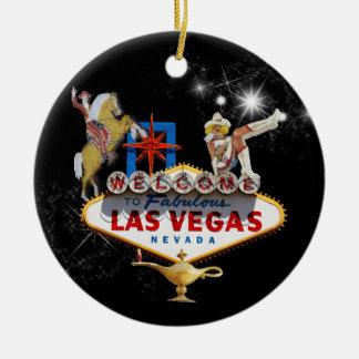 Las Vegas-Willkommensschild auf sternenklarem Keramik Ornament