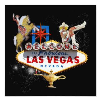 Las Vegas-Willkommensschild auf sternenklarem Quadratische 13,3 Cm Einladungskarte