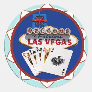 Las- Vegaszeichen u. Karten-Poker-Chip Runder Aufkleber