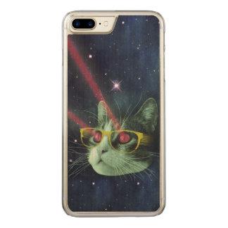Laser-Katze mit Gläsern im Raum Carved iPhone 8 Plus/7 Plus Hülle